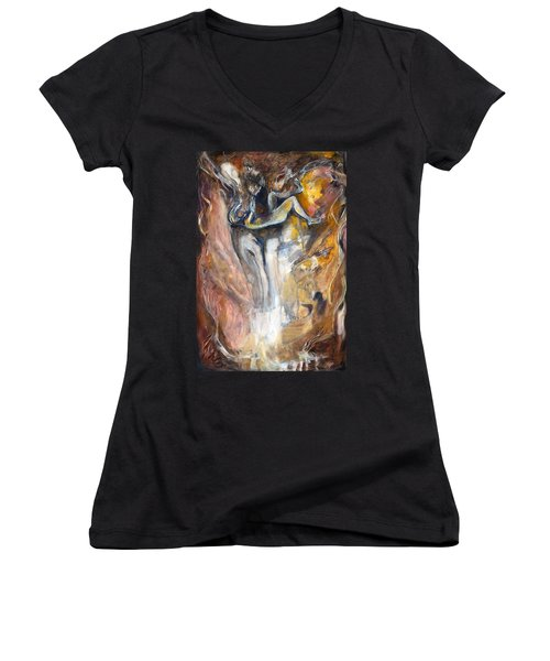Women's V-Neck T-Shirt (Junior Cut) featuring the painting Down The Rabbit Hole by Nadine Dennis