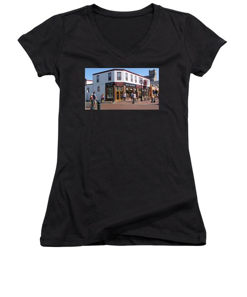 Women's V-Neck T-Shirt (Junior Cut) featuring the painting Downtown Cape May New Jersey by Rod Jellison