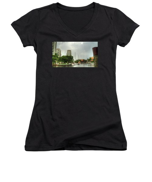 downtown Ft Lauderdale waterfront Women's V-Neck (Athletic Fit)