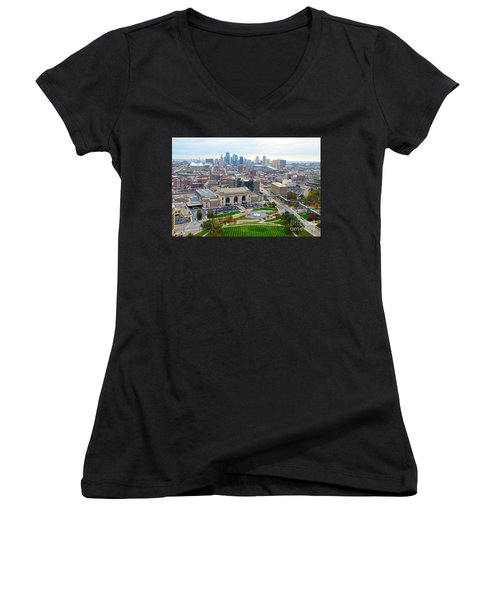 Downtown Kansas City From Liberty Memorial Tower Women's V-Neck (Athletic Fit)