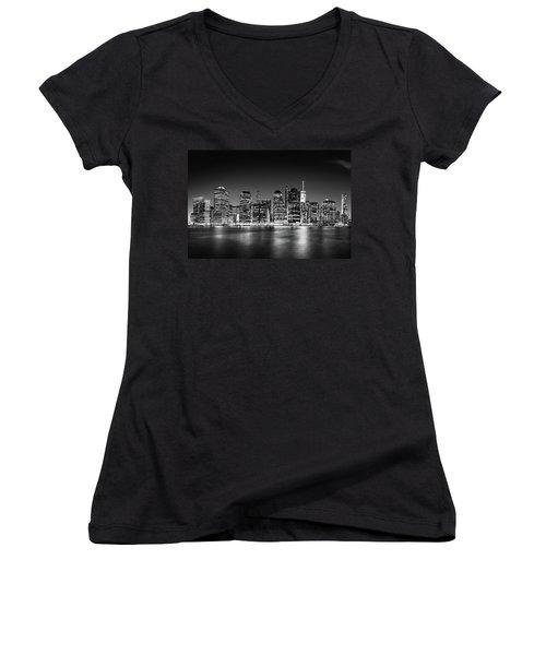 Downtown Manhattan Bw Women's V-Neck T-Shirt (Junior Cut) by Az Jackson