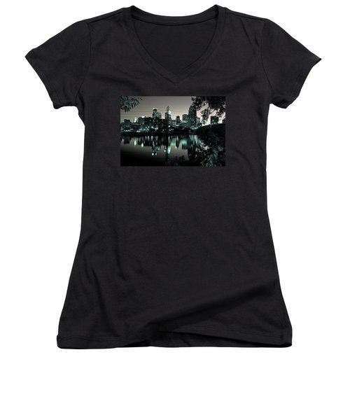 Downtown Minneapolis At Night II Women's V-Neck T-Shirt