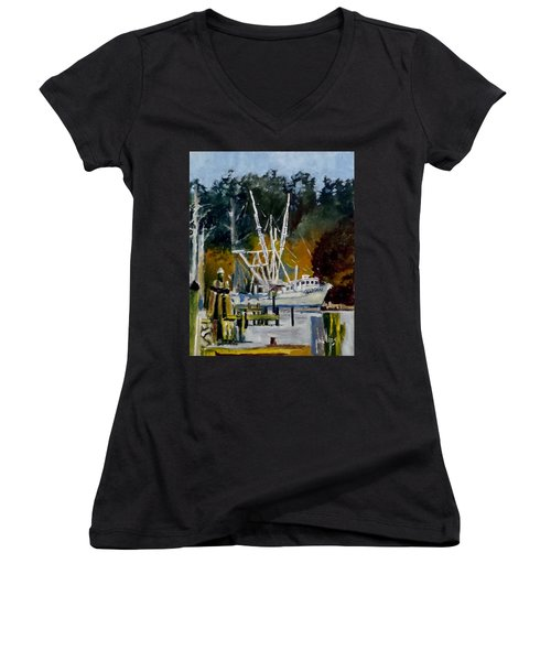Women's V-Neck T-Shirt (Junior Cut) featuring the painting Downtown Parking by Jim Phillips