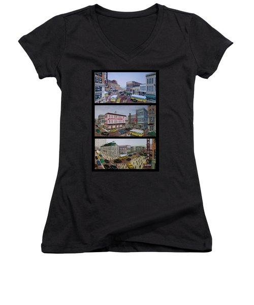 Downtown Portsmouth 1948 Women's V-Neck T-Shirt (Junior Cut) by Frank Hunter