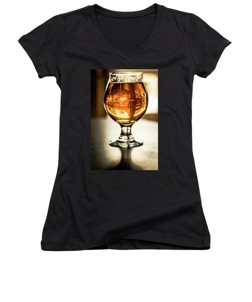 Downtown Waukesha Through A Glass Of Beer At Bernie's Taproom Women's V-Neck T-Shirt