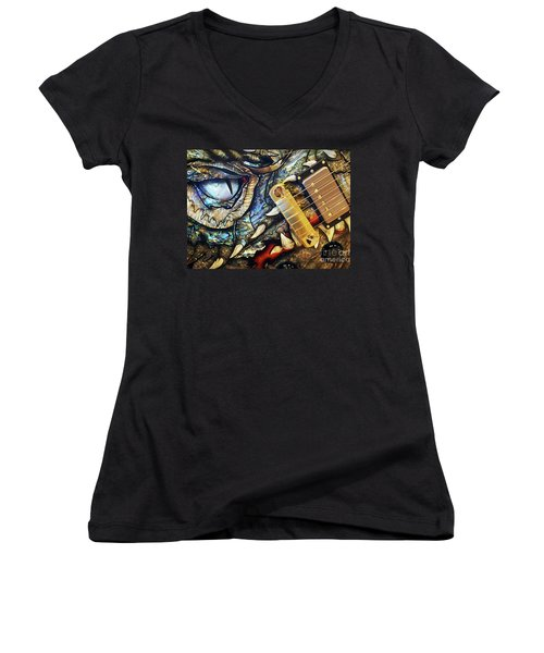 Dragon Guitar Prs Women's V-Neck T-Shirt