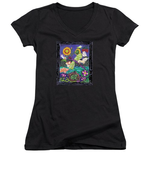 Dragonfly And Unicorn Women's V-Neck T-Shirt