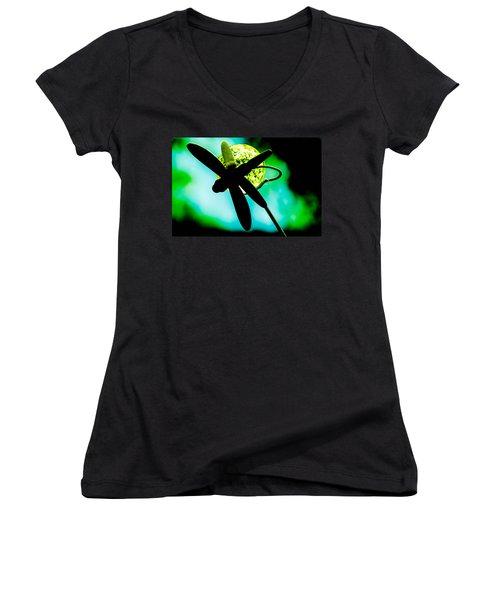 Dragonfly Crystal Women's V-Neck T-Shirt (Junior Cut) by Bruce Pritchett