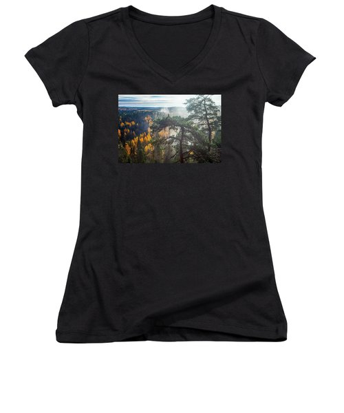 Dramatic Autumn Forest With Trees On Foreground Women's V-Neck T-Shirt (Junior Cut) by Teemu Tretjakov