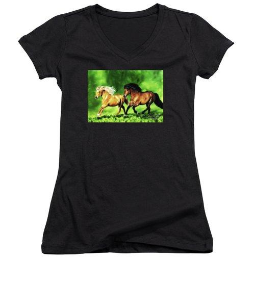 Women's V-Neck T-Shirt (Junior Cut) featuring the painting Dream Team by Shari Nees