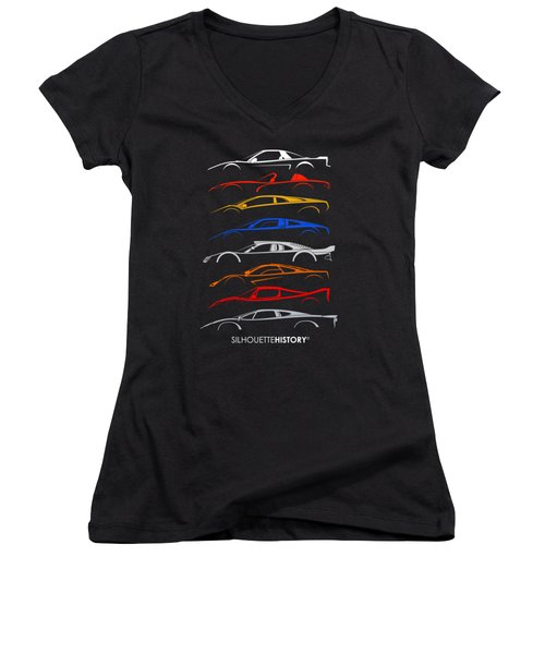 Dreamcars Of 90s Silhouettehistory Women's V-Neck (Athletic Fit)
