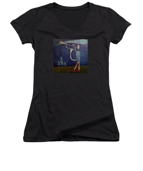 Women's V-Neck T-Shirt (Junior Cut) featuring the painting Dreamers 13-002 by Mario Perron