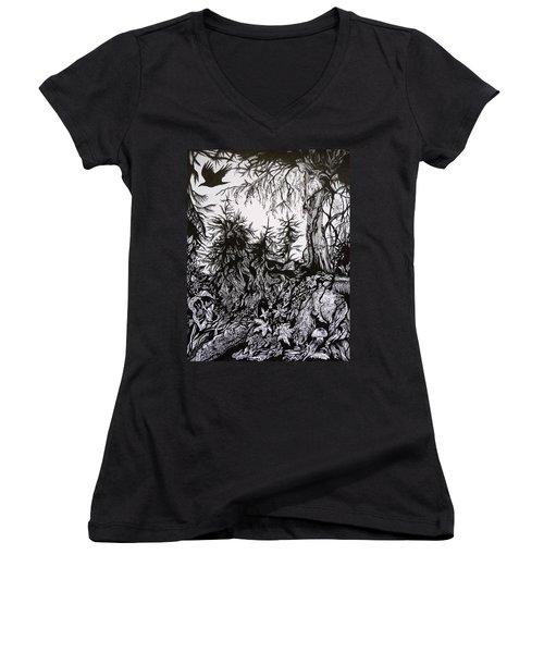 Women's V-Neck T-Shirt (Junior Cut) featuring the drawing Dreaming Alaska.part One by Anna  Duyunova