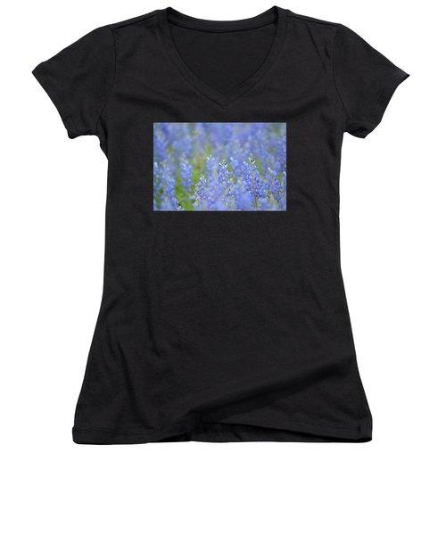 Women's V-Neck T-Shirt (Junior Cut) featuring the photograph Dreaming Bluebonnets 1 by Carolina Liechtenstein