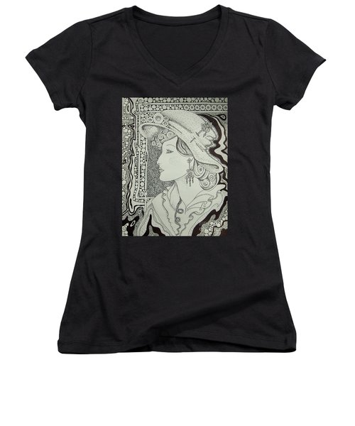 Women's V-Neck T-Shirt (Junior Cut) featuring the drawing Dreaming Of Another Time by Tamyra Crossley