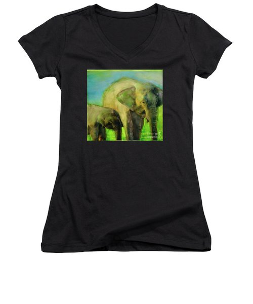 Dreaming Of Elephants Women's V-Neck (Athletic Fit)