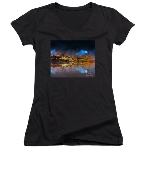 Dresden At Night Women's V-Neck (Athletic Fit)