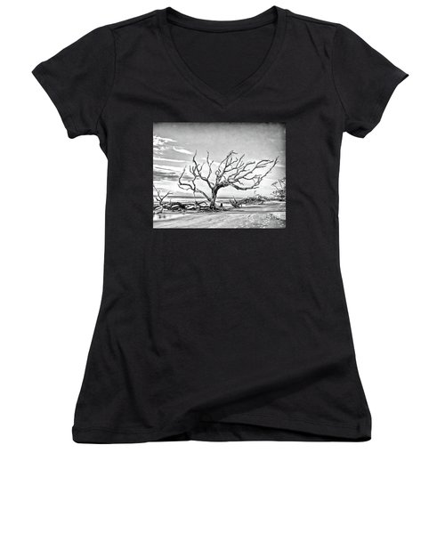 Women's V-Neck T-Shirt featuring the photograph Driftwood Beach - Black And White by Kerri Farley