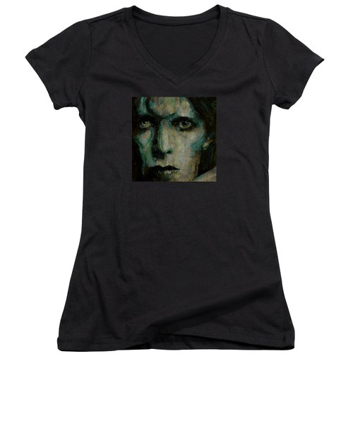 Drive In Saturday@ 2 Women's V-Neck T-Shirt (Junior Cut) by Paul Lovering