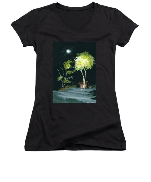 Drive Inn Women's V-Neck T-Shirt (Junior Cut) by Anil Nene