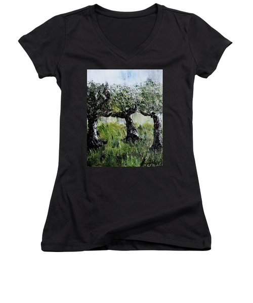 Women's V-Neck T-Shirt (Junior Cut) featuring the painting Drizzle by Evelina Popilian