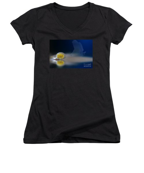 Droplet On A Cockatoo Feather Women's V-Neck T-Shirt (Junior Cut) by Kym Clarke