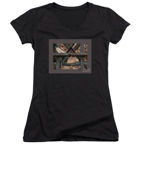 Women's V-Neck T-Shirt (Junior Cut) featuring the photograph Dry Leaves And Old Steel-iii by Patricia Overmoyer