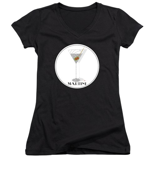 Dry Martini Cocktail Pop Art Deco Women's V-Neck T-Shirt (Junior Cut) by Cecely Bloom