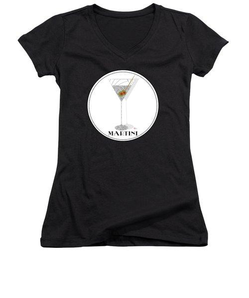 Dry Martini Cocktail Pop Art Deco Women's V-Neck T-Shirt