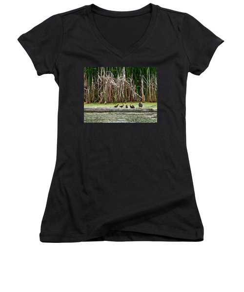 Ducks All In A Row Women's V-Neck (Athletic Fit)