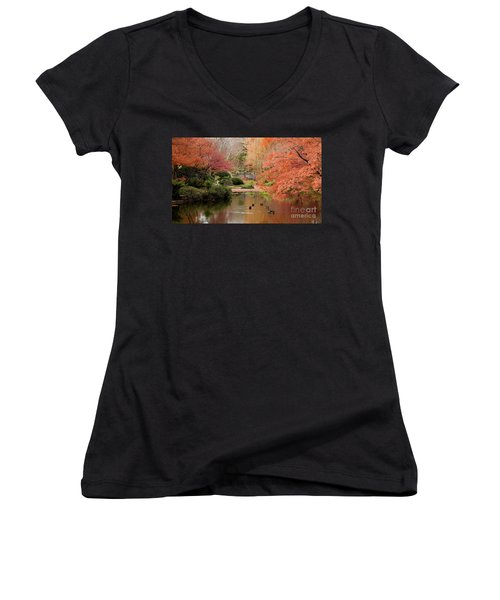Ducks In The Pond Women's V-Neck T-Shirt (Junior Cut) by Iris Greenwell