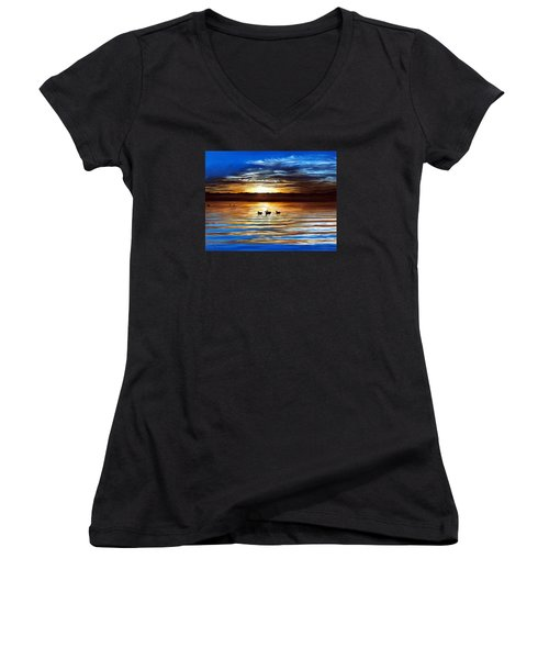 Ducks On Clear Lake Women's V-Neck (Athletic Fit)