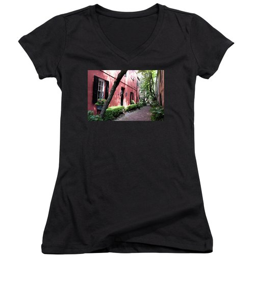 Dueler's Alley Women's V-Neck T-Shirt (Junior Cut) by Ed Waldrop