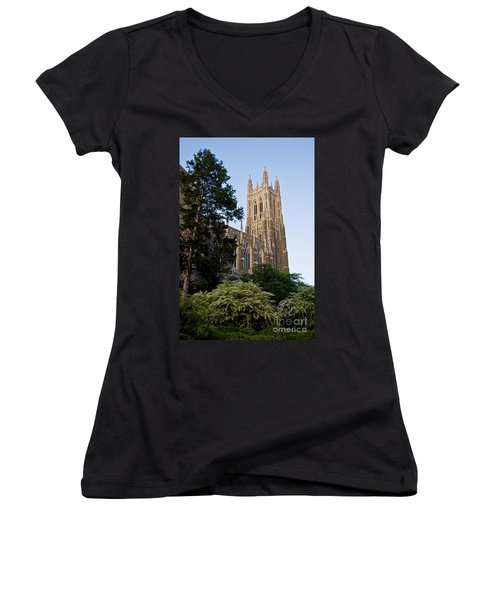 Duke Chapel Side View Women's V-Neck (Athletic Fit)