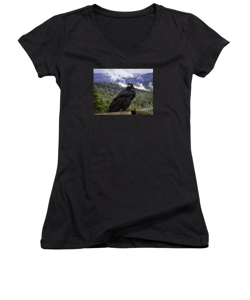 Dunraven Raven Women's V-Neck T-Shirt (Junior Cut) by Elizabeth Eldridge