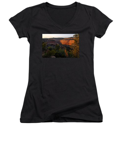 Dusk At Colorado National Monument Women's V-Neck