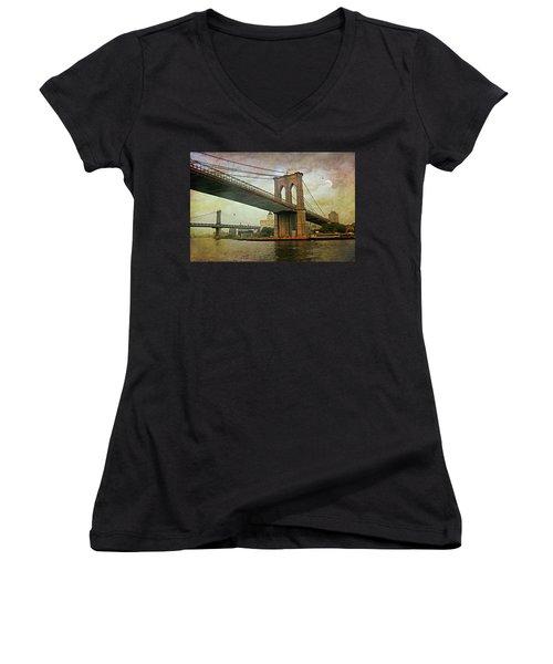 Dusk At The Bridge Women's V-Neck T-Shirt (Junior Cut) by Diana Angstadt