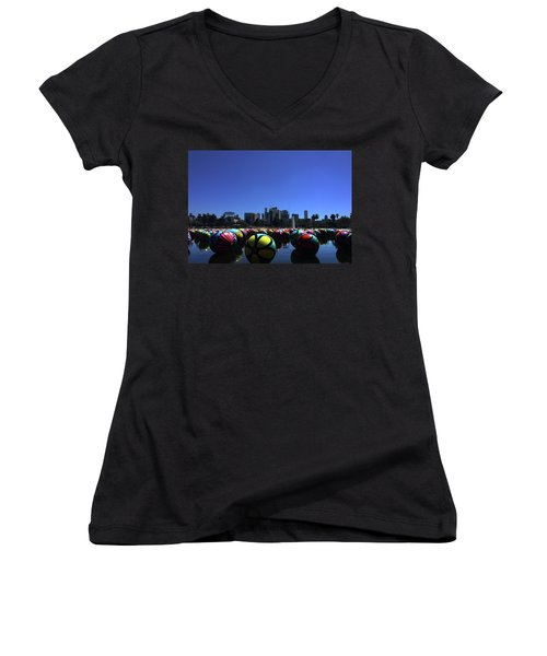 Women's V-Neck featuring the photograph Dusk Finds The Spheres Of Macarthur Park by Lorraine Devon Wilke