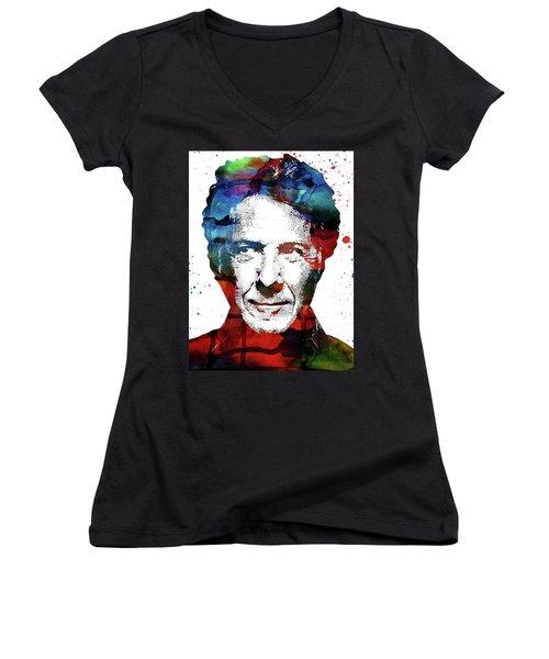 Dustin Hoffman Women's V-Neck T-Shirt (Junior Cut) by Mihaela Pater