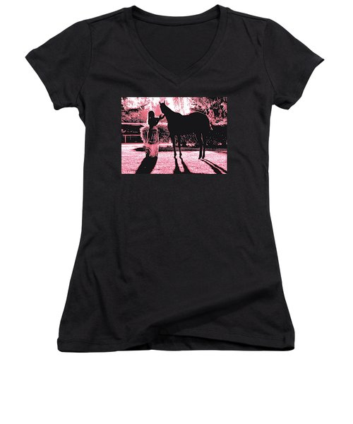 Dylly And Lizzy Pink Women's V-Neck T-Shirt (Junior Cut)