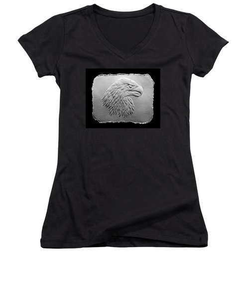 Eagle Head Relief Drawing Women's V-Neck T-Shirt