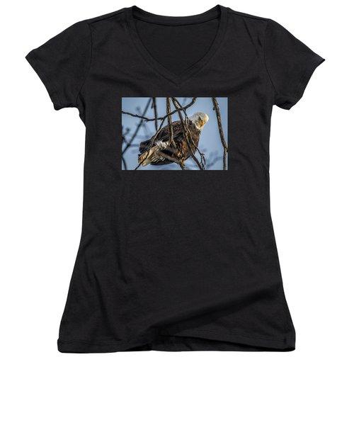 Eagle Power Women's V-Neck T-Shirt (Junior Cut) by Ray Congrove