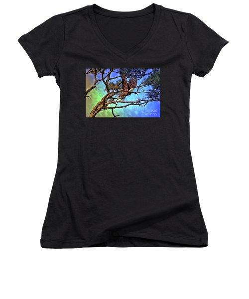 Women's V-Neck T-Shirt (Junior Cut) featuring the painting Eagle Series 2 by Deborah Benoit
