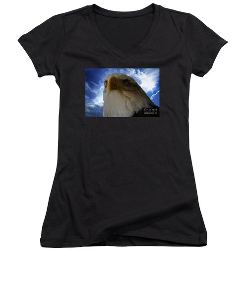 Eagle Women's V-Neck T-Shirt (Junior Cut) by Sherman Perry