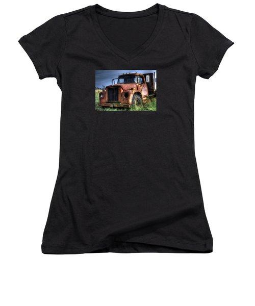 Women's V-Neck T-Shirt (Junior Cut) featuring the photograph Earl Latsha Lumber Company Version 3 by Shelley Neff