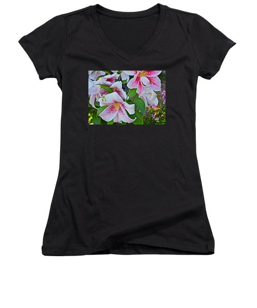 Early August Tumble Of Lilies Women's V-Neck