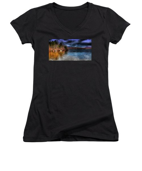 Women's V-Neck T-Shirt (Junior Cut) featuring the photograph Early May On Limekiln Lake by David Patterson