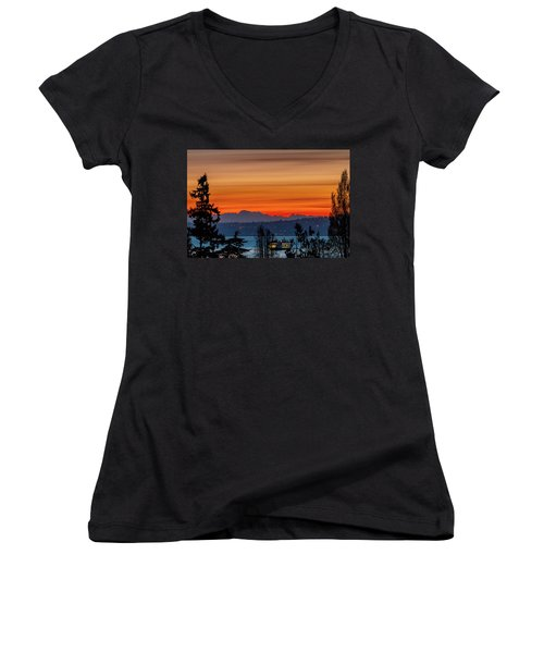Orange Stripes In An April Sky Women's V-Neck