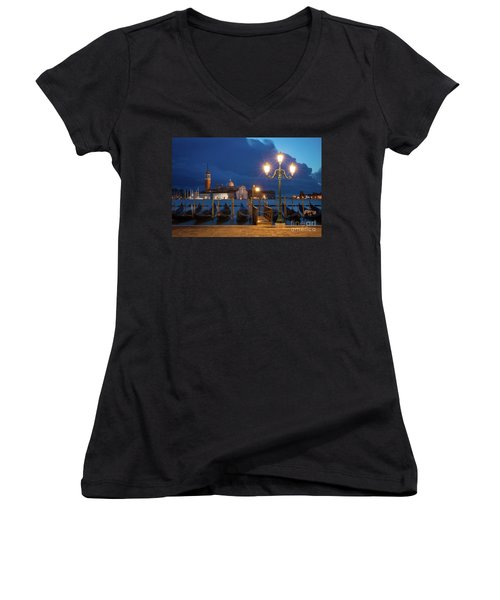Women's V-Neck T-Shirt (Junior Cut) featuring the photograph Early Morning In Venice by Brian Jannsen