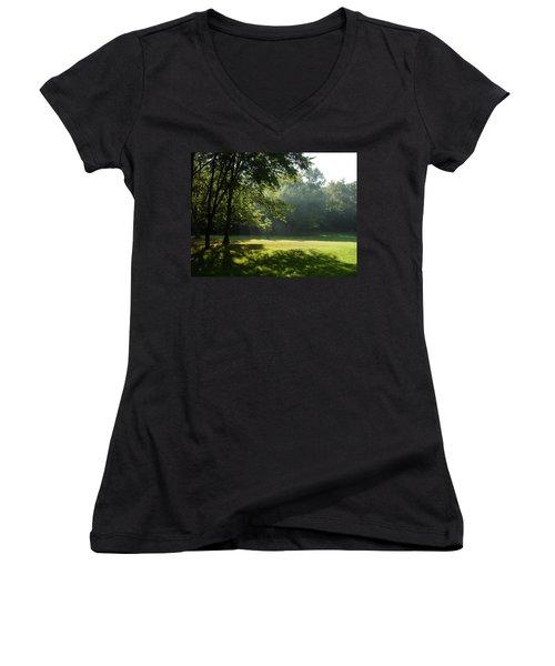 Early Morning Meadow Women's V-Neck T-Shirt (Junior Cut) by Cynthia Lassiter